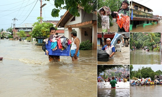 View Saat Banjir di Kelurahan Ketang Baru, Singkil, Manado