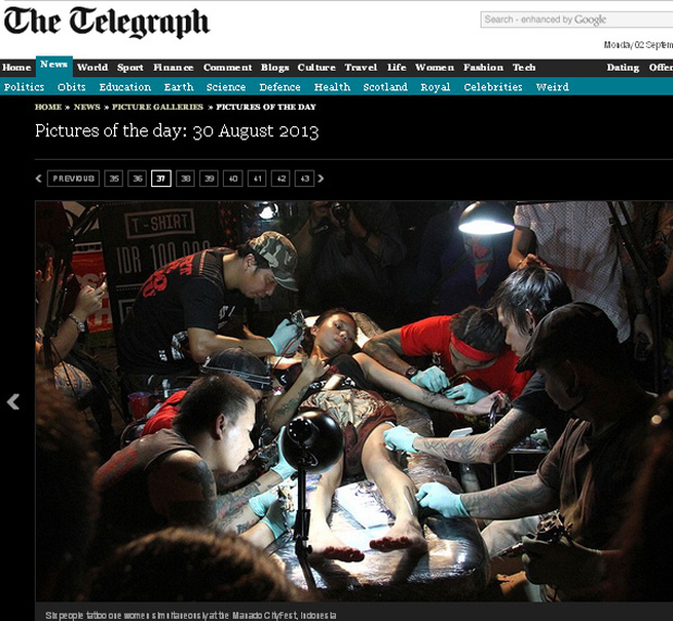 Scren Capture The Telegraph, 30 September 2013.