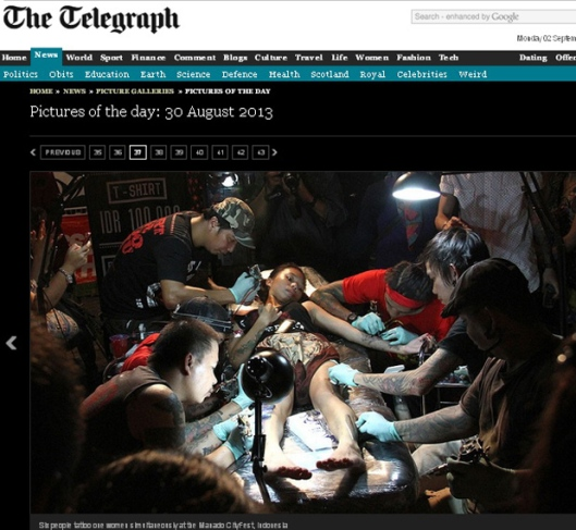 Scren Capture The Telegraph, 30 September 2013.